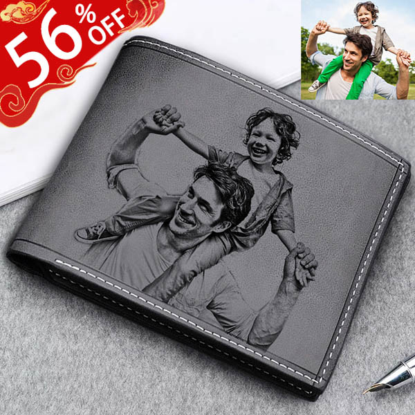 Personalized Photo Genuine Leather Men's Black Wallet