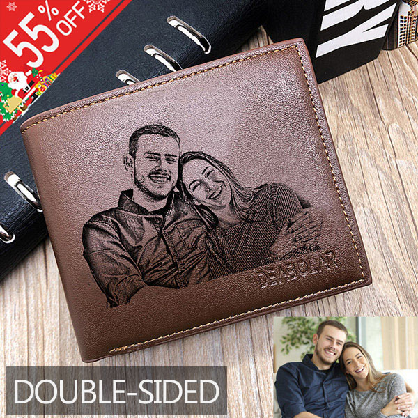 Personalized Double-Sided Photo Leather Men's Trifold Wallet