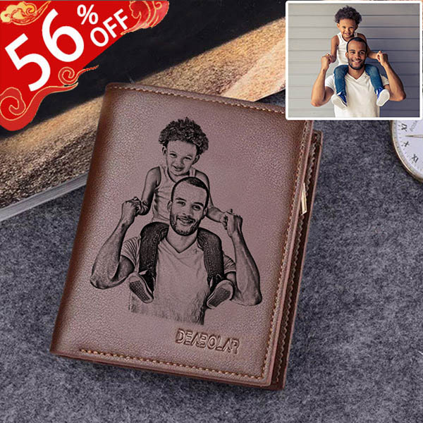Personalized Photo Leather Men's Trifold Vertical Wallet