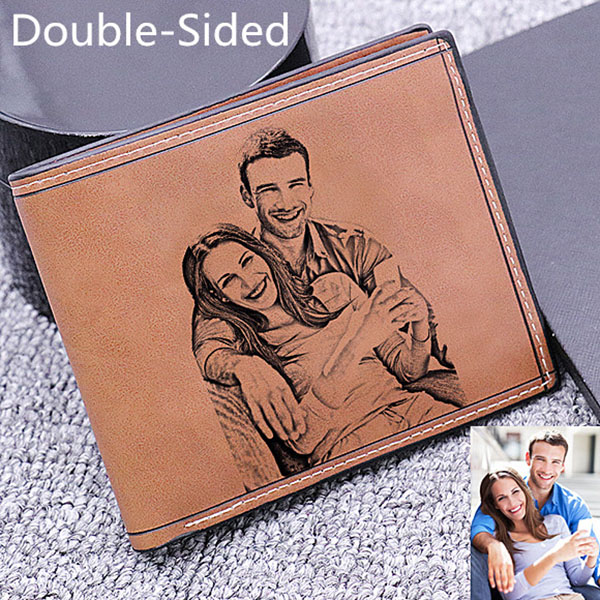 Personalized Doubled-Sided Photo Genuine Leather Men's Wallet - Dark Brown