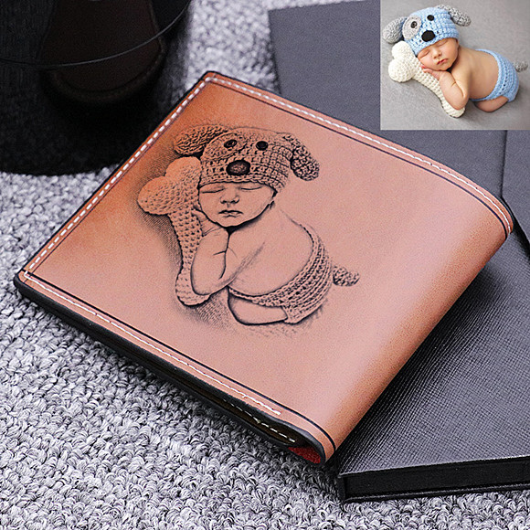 Doubled-Sided Photo Genuine Leather Men's Wallet