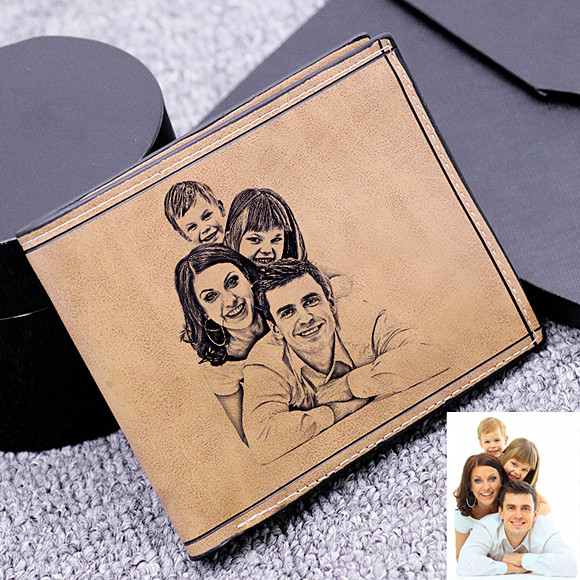 Personalized Photo Genuine Leather Men's Wallet - Light Brown